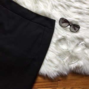 LOFT Black Back Pleat Pencil Skirt